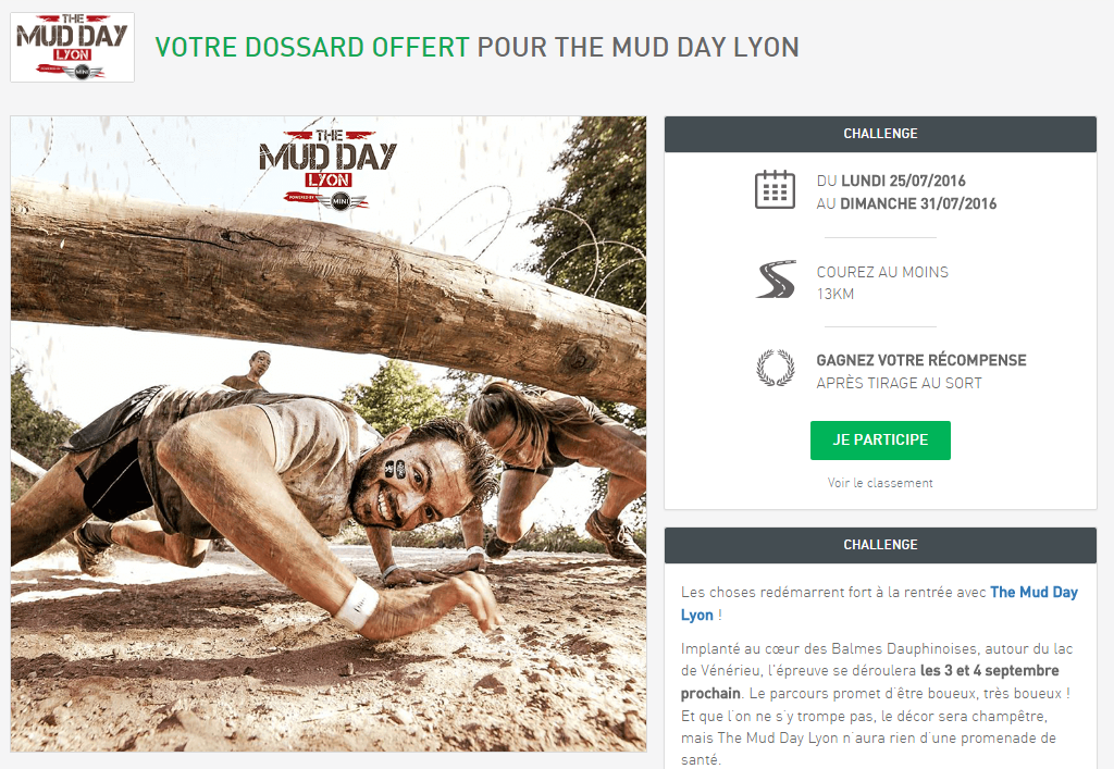 Challenge Mudday Lyon sur Running Heroes