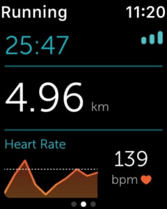 Runkeeper sur l'Apple Watch 2 - rythme cardiaque