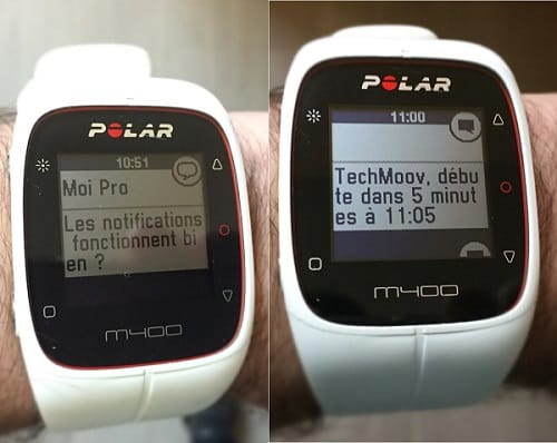 Polar M400 : notifications