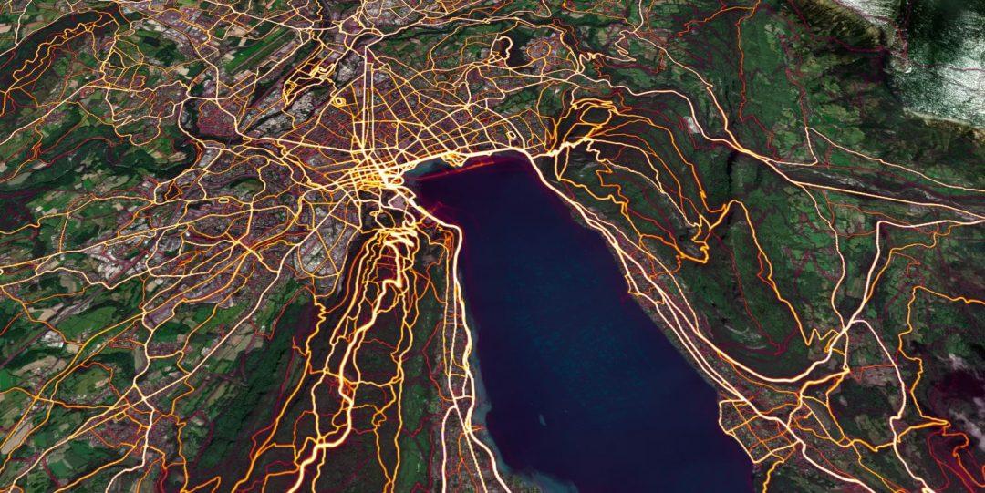 Carte Heatmap Strava à Annecy